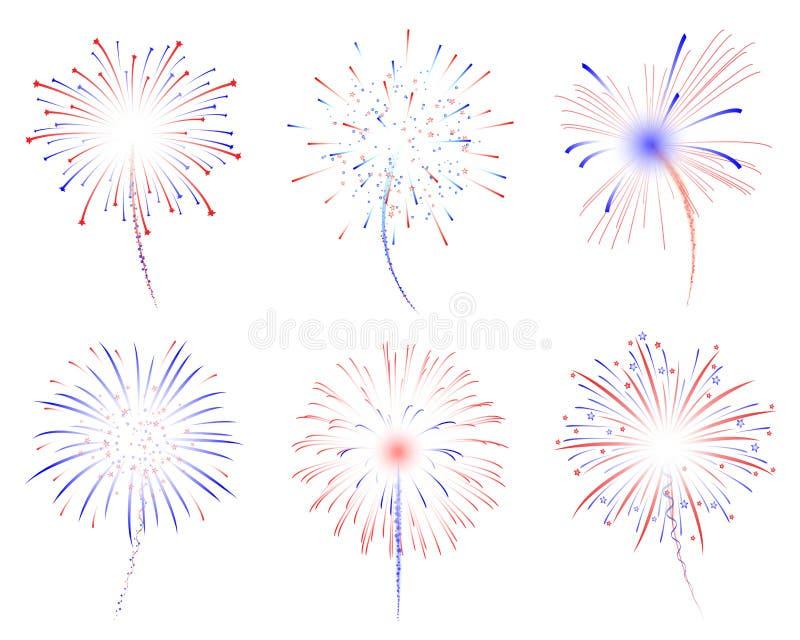 De illustratie van vuurwerkd stock afbeeldingen