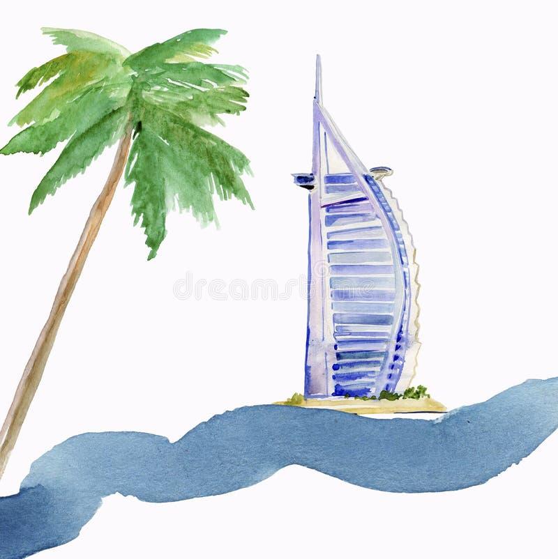 De illustratie van de waterverf Al van Burj Arabisch hotel op strand Jumeirah in Doubai royalty-vrije illustratie
