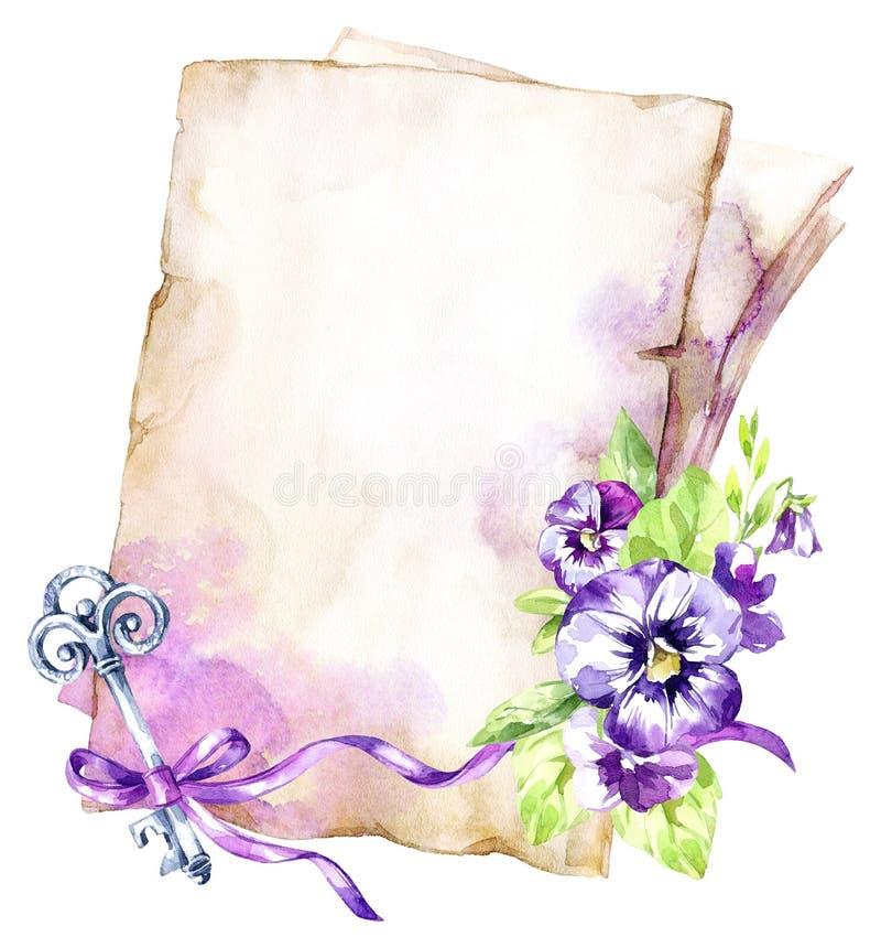 De illustratie van de waterverf Een stapel van oude documenten met een lint, een viooltje, bladeren en sleutel Antieke voorwerpen royalty-vrije illustratie