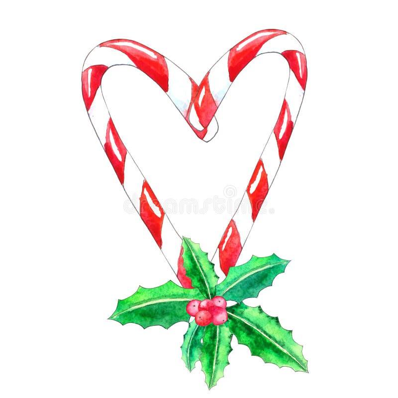 De illustratie van de waterverf Het riet van het Kerstmissuikergoed met Hulstbes stock illustratie