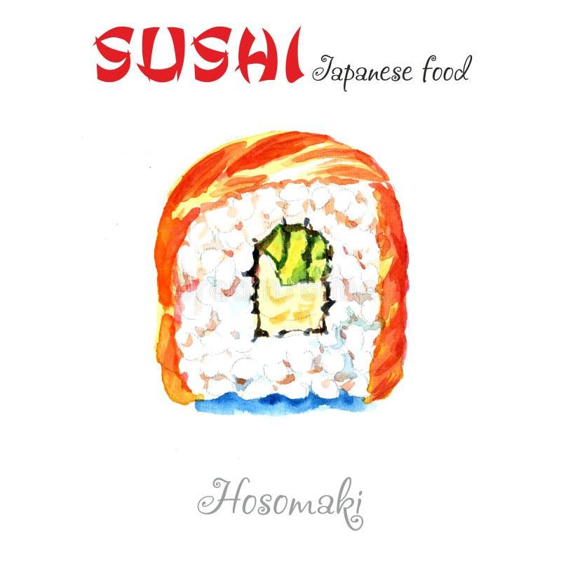 De illustratie van de waterverf Hosomakibroodjes Heerlijk traditioneel Japans voedsel, smakelijke zeevruchten, restaurantconcept, vector illustratie