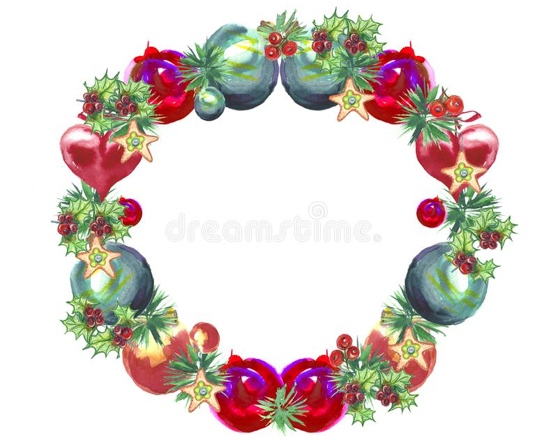 De illustratie van de waterverf Kerstmiskroon met suikergoed, lolly stock illustratie
