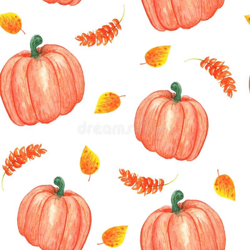 De illustratie van de waterverf naadloos de herfstpatroon met pompoen en geeloranje bladeren stock fotografie