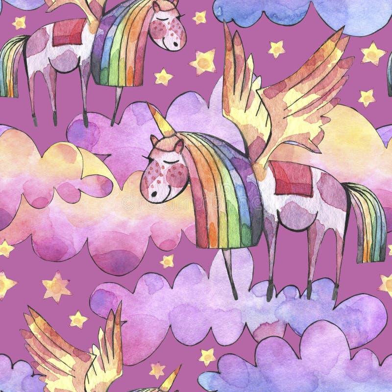 De illustratie van de waterverf Naadloos patroon met heldere regenboogwolken, eenhoorns en sterren royalty-vrije illustratie