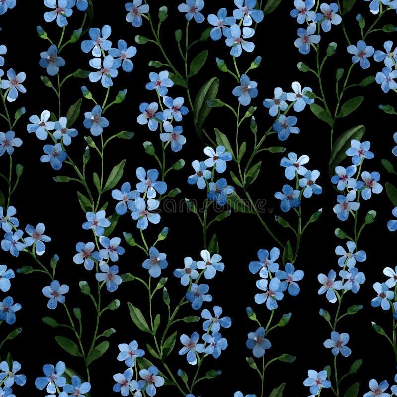 De illustratie van de waterverf Naadloos patroon van zachte blauwe bloemen met groene bladeren op dark royalty-vrije illustratie