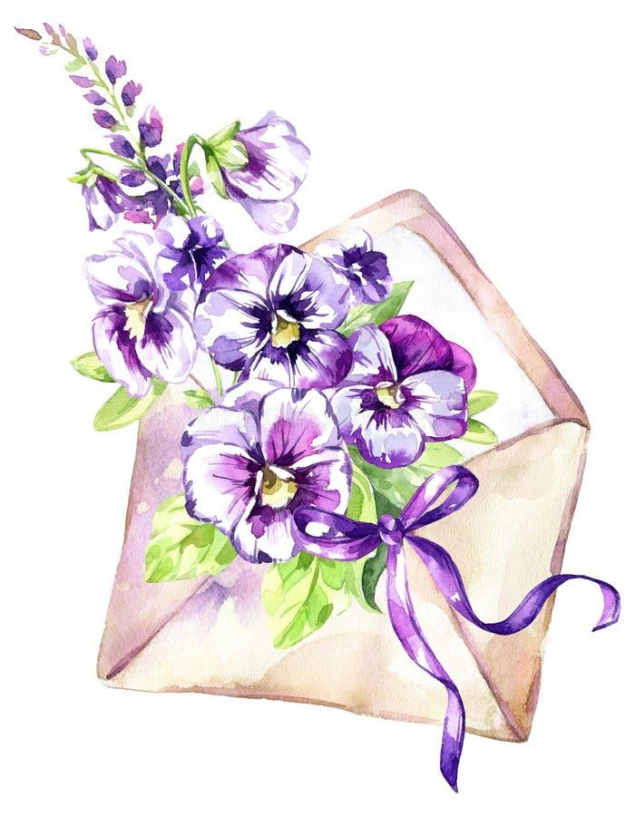 De illustratie van de waterverf Oude envelop met een boeket van pansies en een boog Antieke voorwerpen De lenteinzameling binnen royalty-vrije illustratie