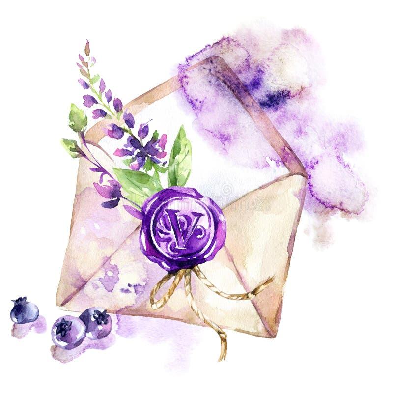 De illustratie van de waterverf Oude envelop met wasverbinding, bloemen en bessen Antieke voorwerpen De lenteinzameling binnen stock illustratie