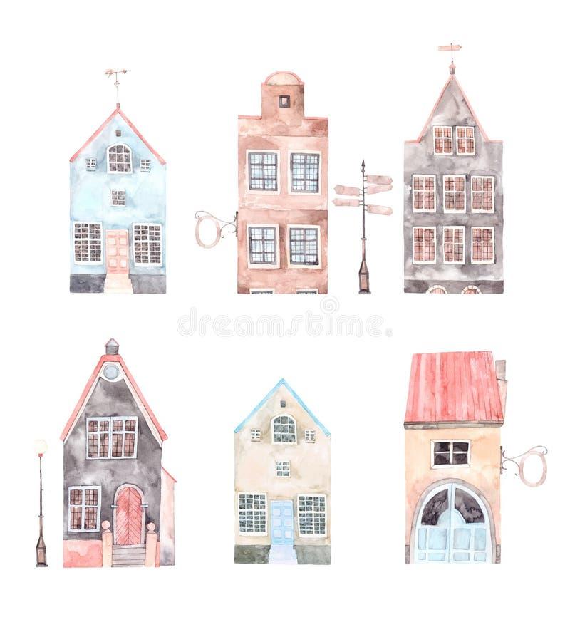 De illustratie van de waterverf Oude stadsstad Cityscape - huizen, bui royalty-vrije illustratie