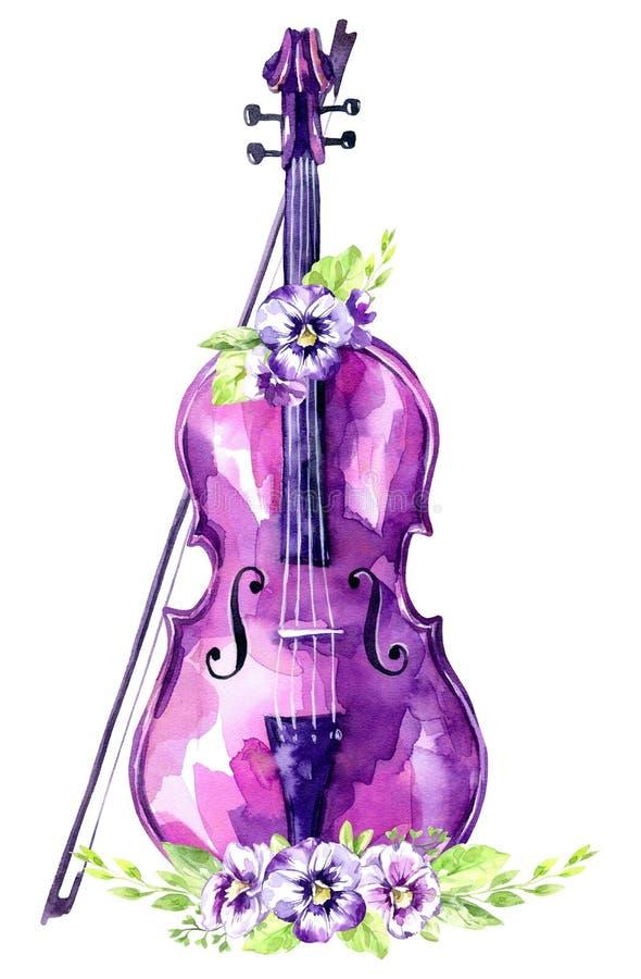 De illustratie van de waterverf Oude viool met viooltjebloemen Antiek voorwerp De inzameling van de muzieklente in violette schad stock illustratie