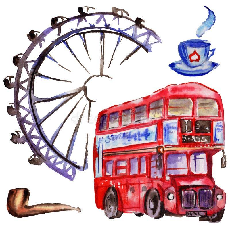 De illustratie van waterverflonden De getrokken symbolen van Groot-Brittannië hand Britse bus vector illustratie