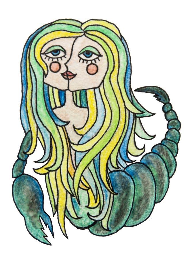 De illustratie van waterverfpensil van dierenriemteken Het meisje van Schorpioen met kleurrijk haar Geïsoleerdj op witte achtergr vector illustratie