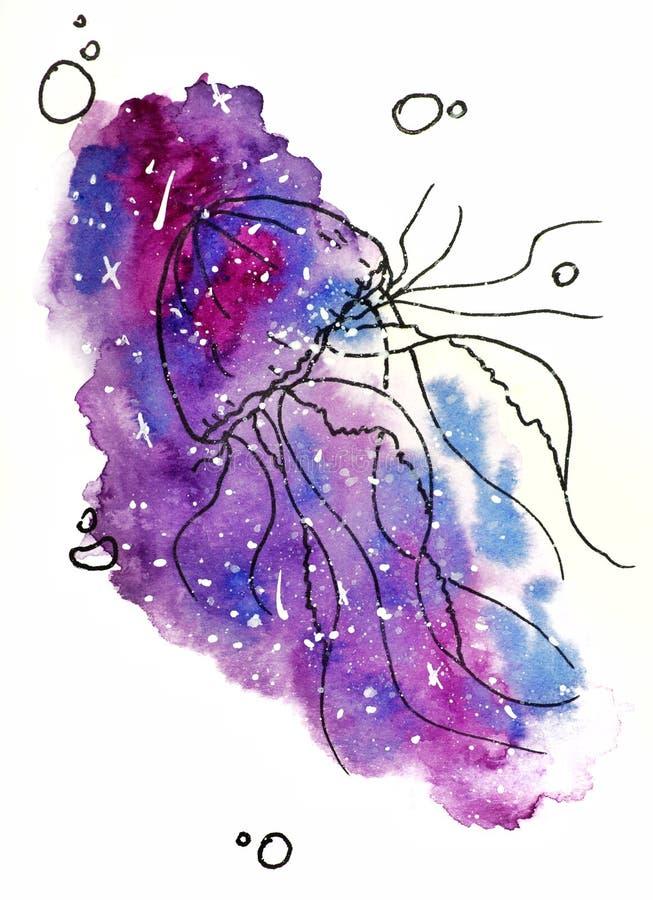 de illustratie van de waterverfschets, tatoegeringsstijl: contour van kwallen door bellen op een achtergrond van roze en mauve ko stock illustratie
