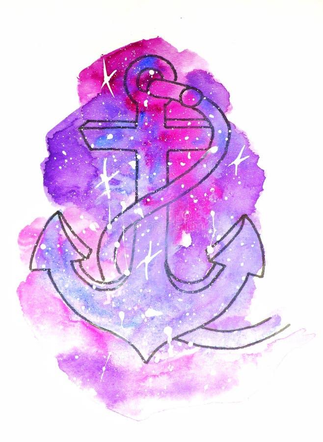 de illustratie van de waterverfschets, tatoegeringsstijl: contour van zeeanker op een achtergrond van roze en mauve kosmos-als vl royalty-vrije illustratie