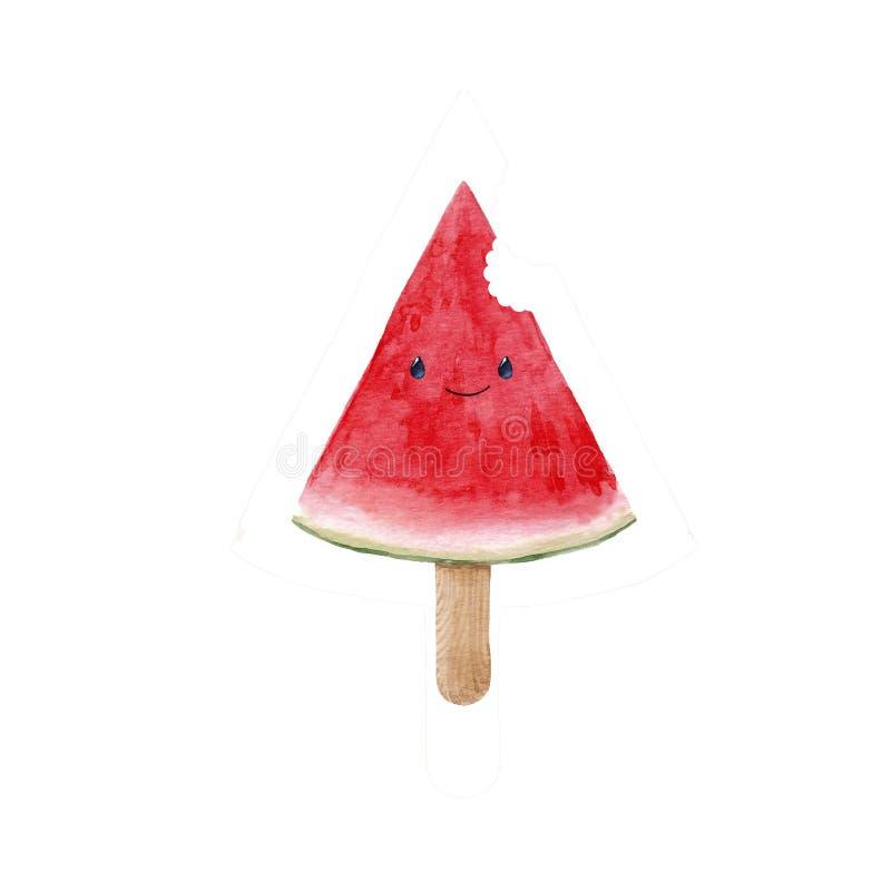 De illustratie van de waterverfwatermeloen royalty-vrije illustratie