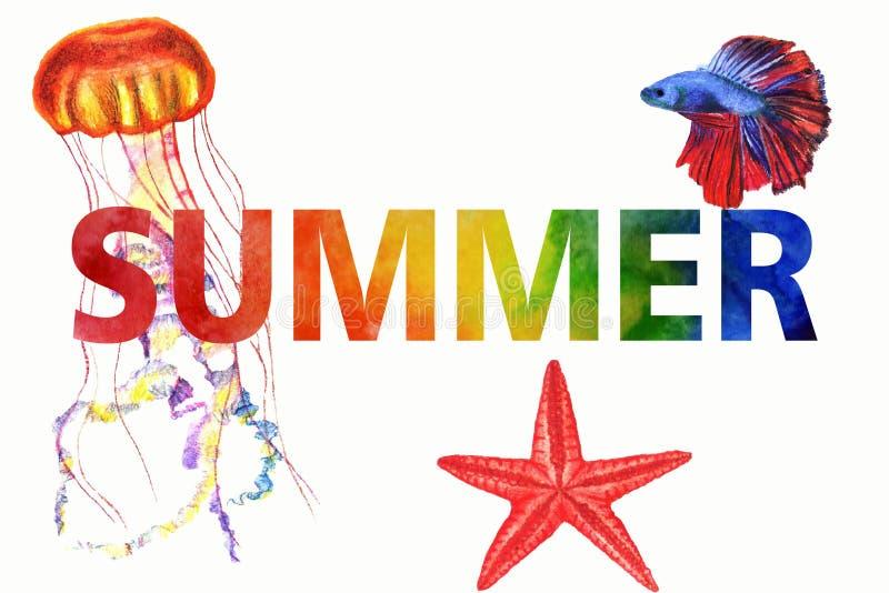 De illustratie van de waterverfzomer De met de hand geschilderde zomer van de regenbooginschrijving vector illustratie