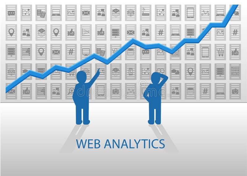 De illustratie van Webanalytics met de positieve grafiek van de de groeilijn Online gegevensanalyse van sociale media gegevens, m stock illustratie
