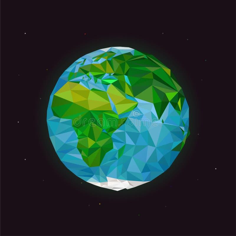 De illustratie van de wereldplaneet Aarde het lage poly desing Bolpictogram in veelhoekige stijl Aardevector vector illustratie