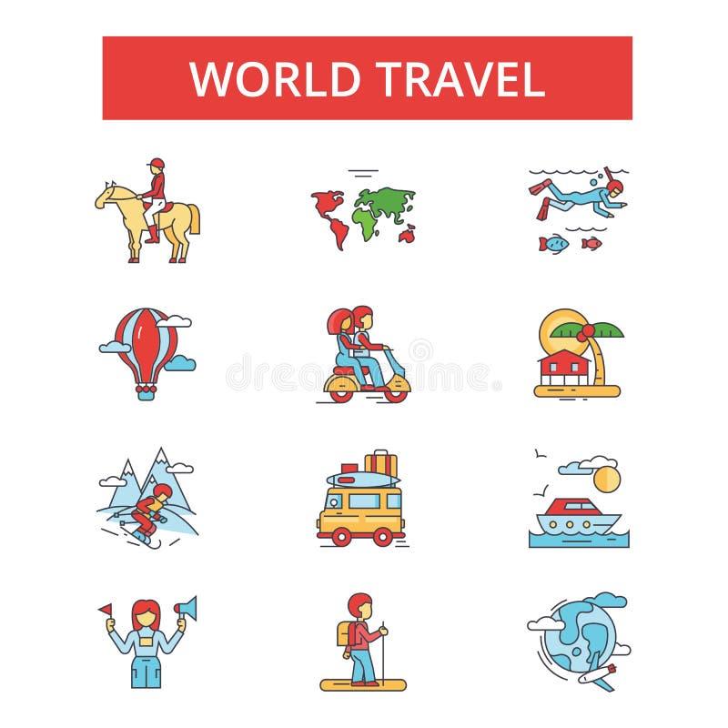 De illustratie van de wereldreis, dunne lijnpictogrammen, lineaire vlakke tekens royalty-vrije illustratie