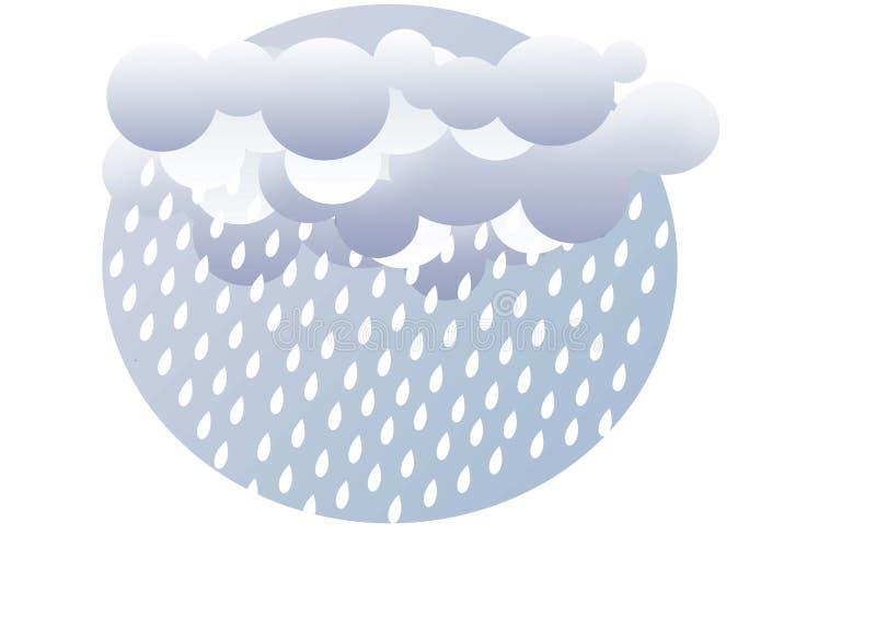 De illustratie van Wheather van regendalingen en wolken stock illustratie