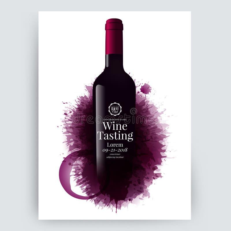 De illustratie van wijnfles met wijn bevlekt achtergrond Illustratie van fles en vlekken door lagen De textuur van de rode wijnkl stock illustratie