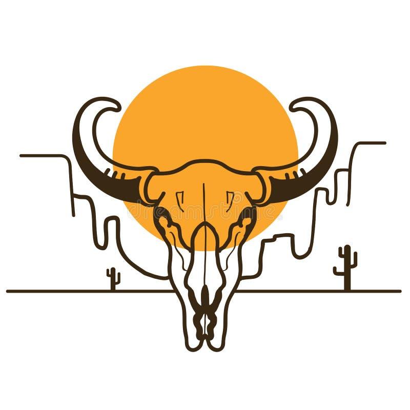 De illustratie van Wilde Westennen met stierenschedel op Amerikaanse woestijn en su vector illustratie