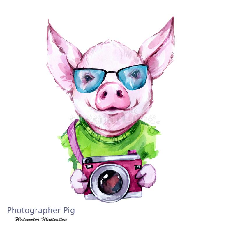 De illustratie van de de zomervakantie Het varken van het waterverfbeeldverhaal met glazen en camera Grappige fotograaf traveling royalty-vrije illustratie