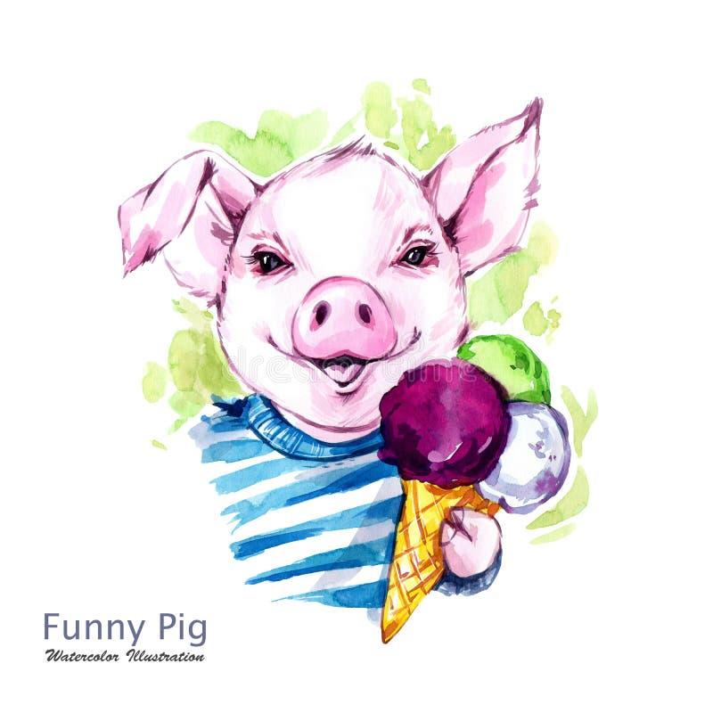 De illustratie van de de zomervakantie Het varken van het waterverfbeeldverhaal met roomijs Grappige Dagen weekend Symbool van he stock illustratie