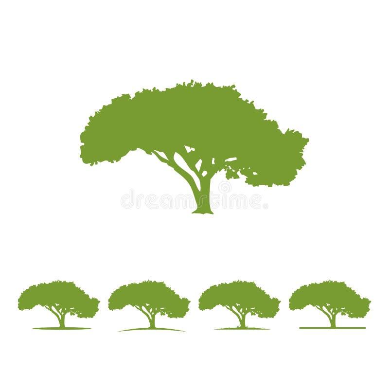 De illustratie Vectorsilhouet van het boomembleem royalty-vrije illustratie