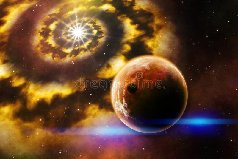 de illustratie warme kleuren van de melkweg ruimtekunst vector illustratie