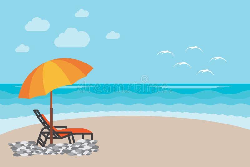 De illustratieachtergrond van de de zomerligstoel Vectorillustratie van de dag bij het strand met overzeese golven, kustmening me royalty-vrije illustratie