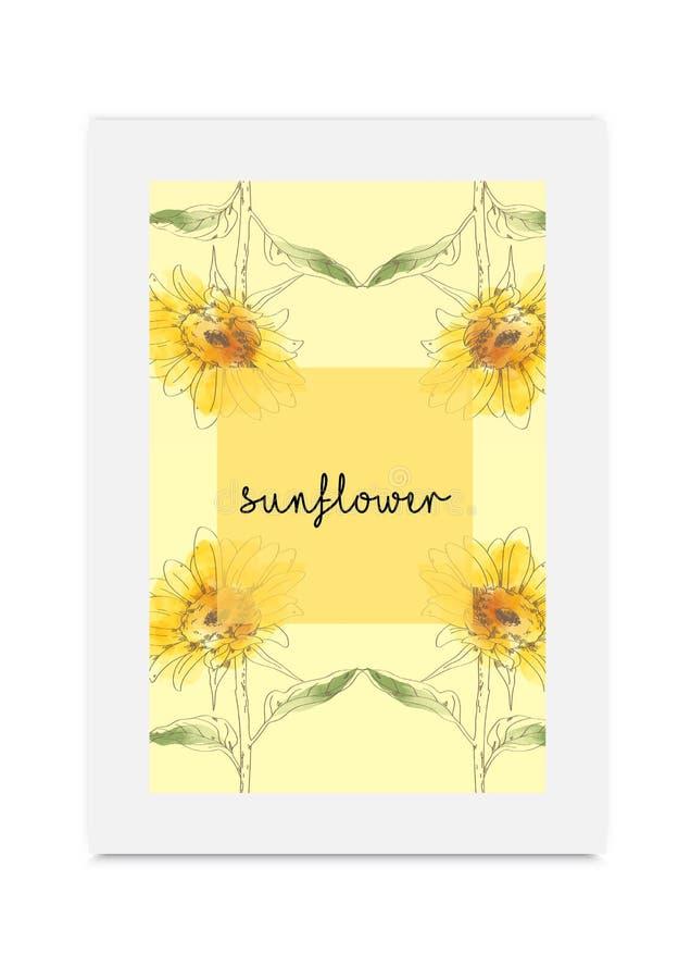 De illustratiehand getrokken geschilderde waterverf van bloem-B 130Sunflower stock illustratie