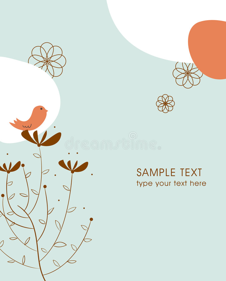De illustratiekaart van de boom en van de vogel royalty-vrije stock foto's