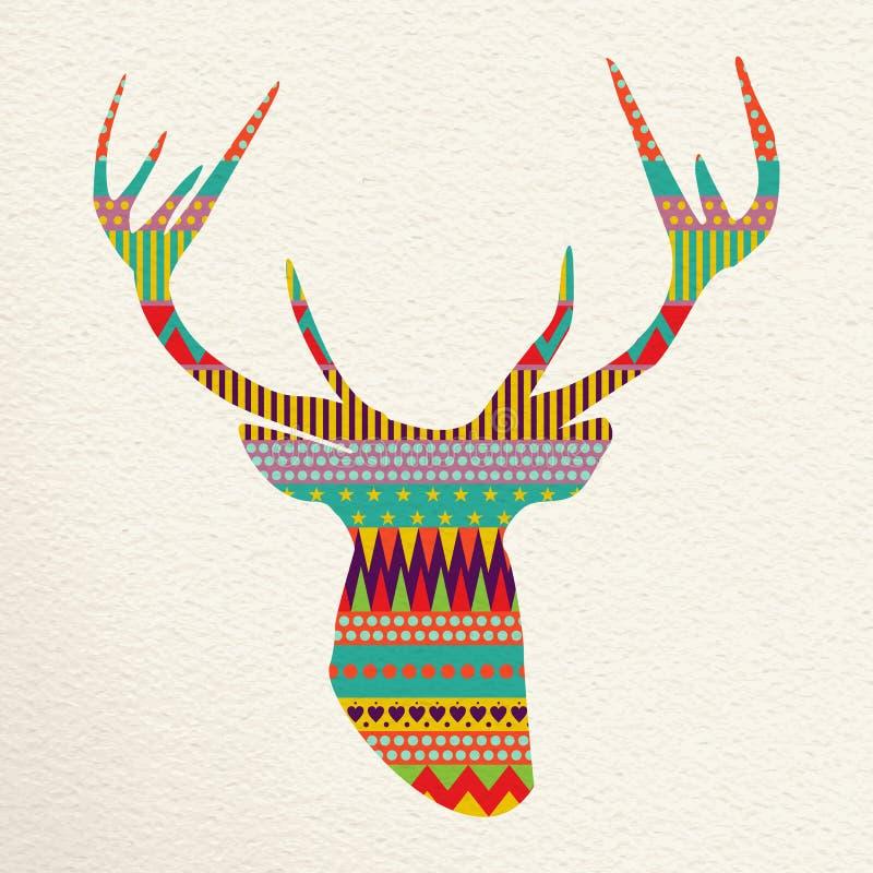 De illustratiekunst van Kerstmisherten in pretkleuren stock illustratie