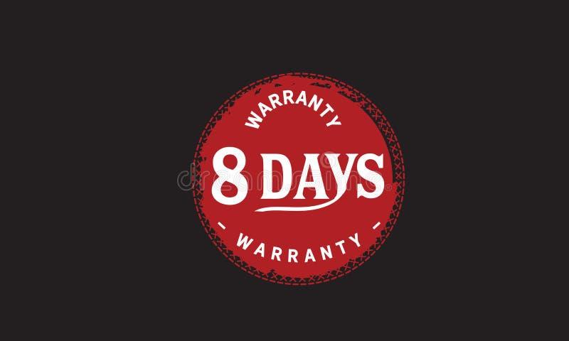 de illustratieontwerp van de 8 dagen rood garantie stock illustratie
