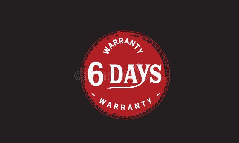 de illustratieontwerp van de 6 dagen rood garantie vector illustratie