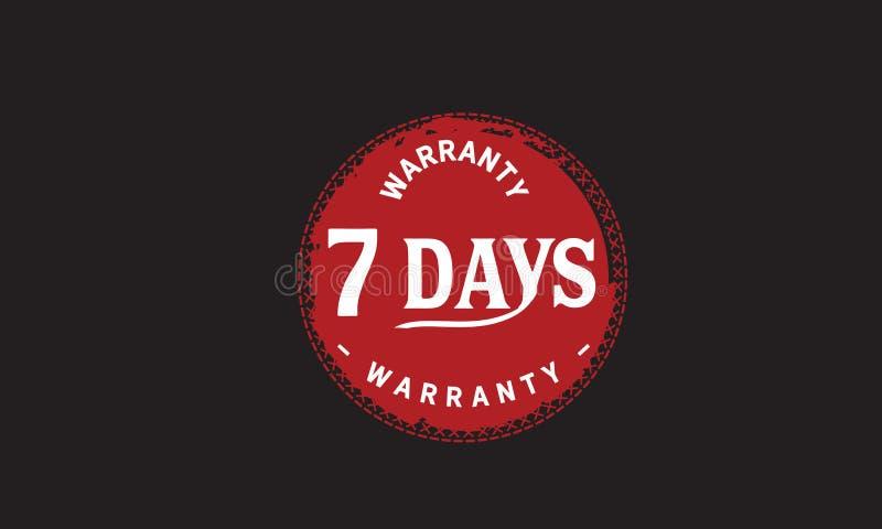 de illustratieontwerp van de 7 dagen rood garantie vector illustratie