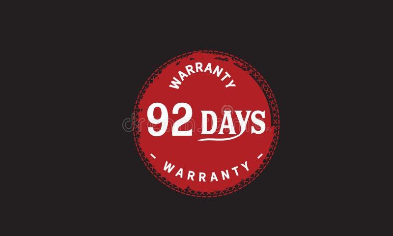 de illustratieontwerp van de 92 dagen rood garantie stock illustratie