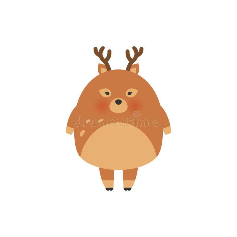 De illustratieontwerp van het hertenbeeldverhaal Leuke bambi dierlijke vector Vrolijke Kerstkaart Het kindvector van de hazenmani vector illustratie