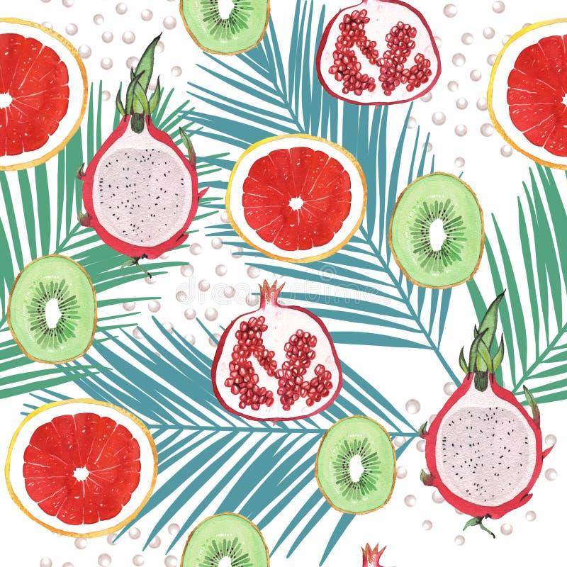De illustratiepatroon van het waterverf exotisch fruit royalty-vrije illustratie