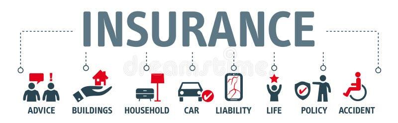 De illustratiepictogrammen van het verzekeringsconcept royalty-vrije illustratie