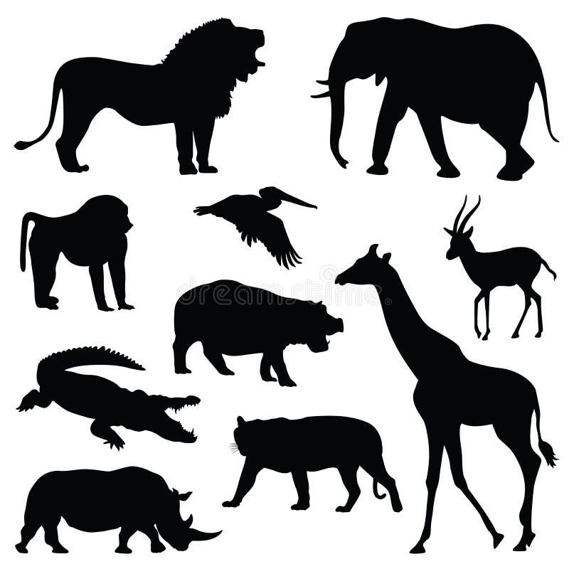 De illustratiereeks van het safari dierlijke silhouet stock illustratie