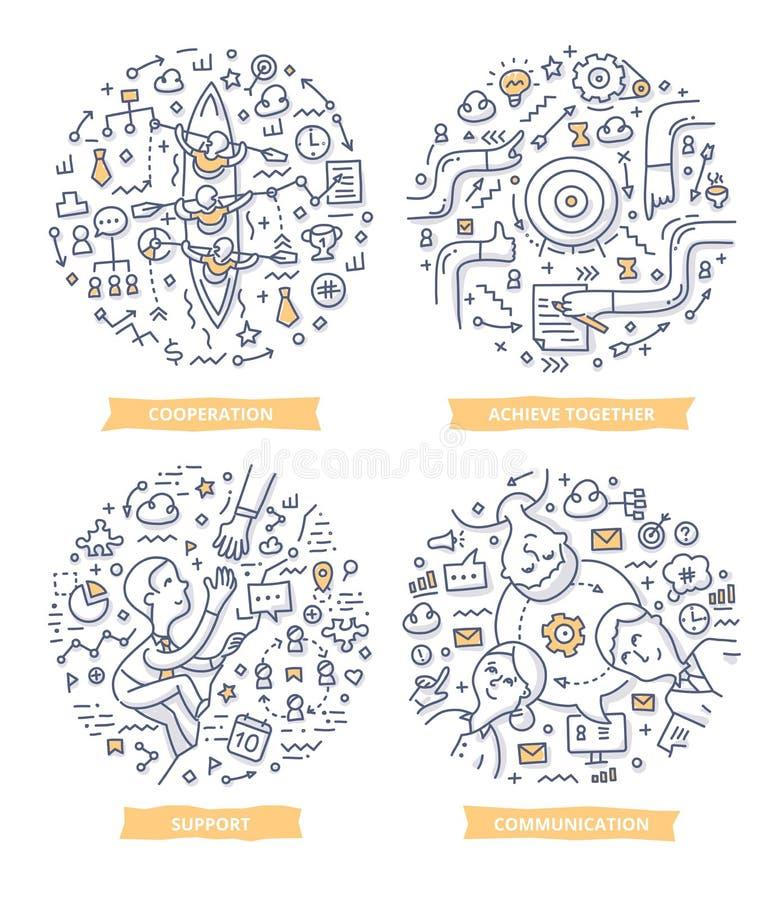 De Illustraties van de groepswerkkrabbel vector illustratie