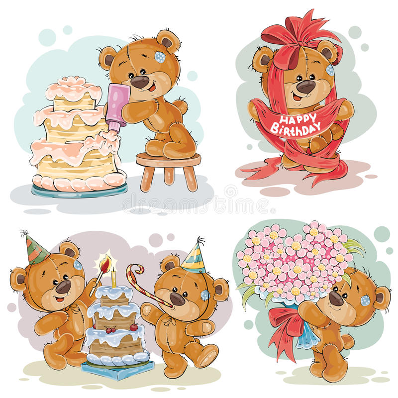 De illustraties van de klemkunst van teddybeer wenst u een gelukkige verjaardag royalty-vrije illustratie