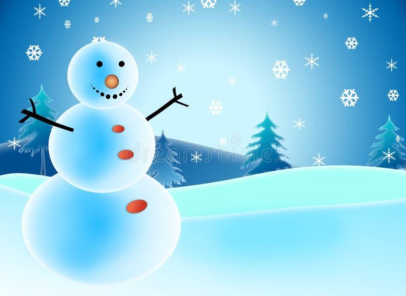 De illustraties van de sneeuwman stock afbeelding