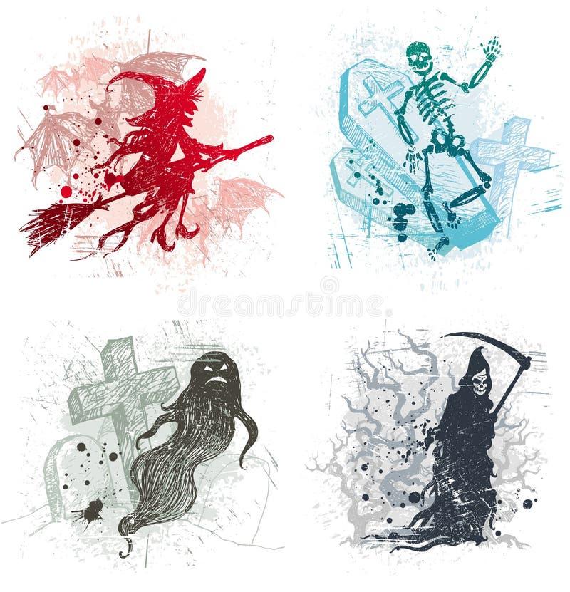 De illustraties van Halloween met demonnen stock illustratie