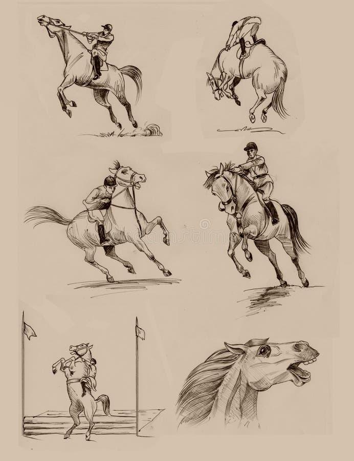 De illustraties van het paard stock afbeeldingen