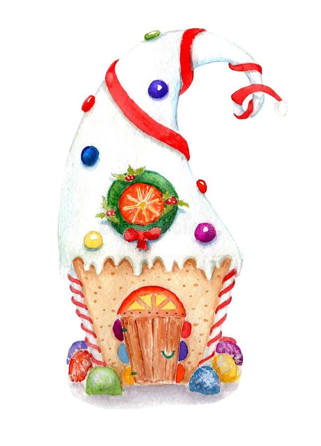 De illustraties van waterverfkerstmis van peperkoekhuis, schets stock illustratie