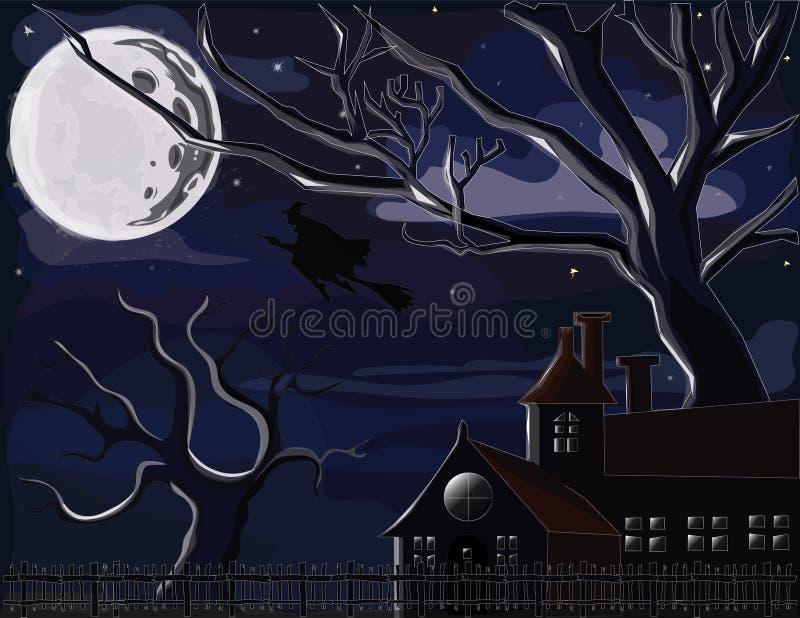 De illustraties voor Walpurgis-nacht of Halloween-decoratie Welke een heks, bomen, wolken, en sterren, huis, en omheining bevat stock illustratie