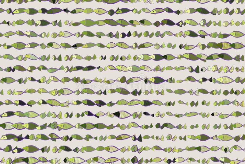 De illustratiesachtergrond van kleurenvissen, getrokken hand Textuur, concept, digitaal & stijl stock illustratie