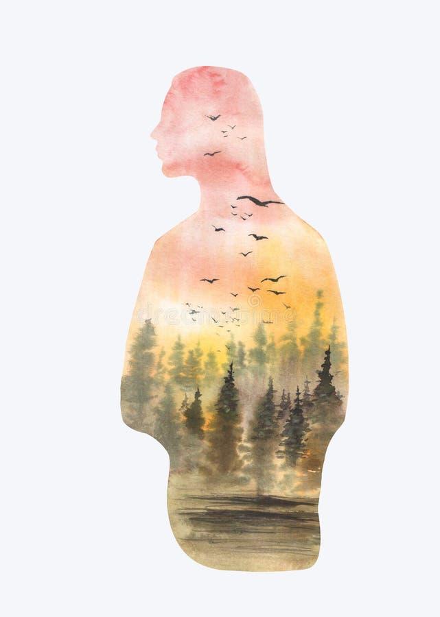 De illustratiesilhouet van het Watrcolormeisje met boslandschap dat op witte achtergrond wordt geïsoleerd royalty-vrije illustratie